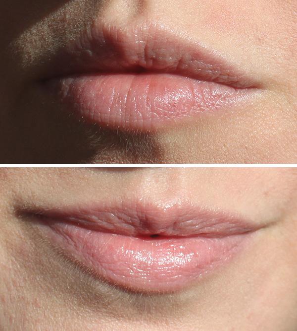 Oben ohne, unten mit Lippenstift.