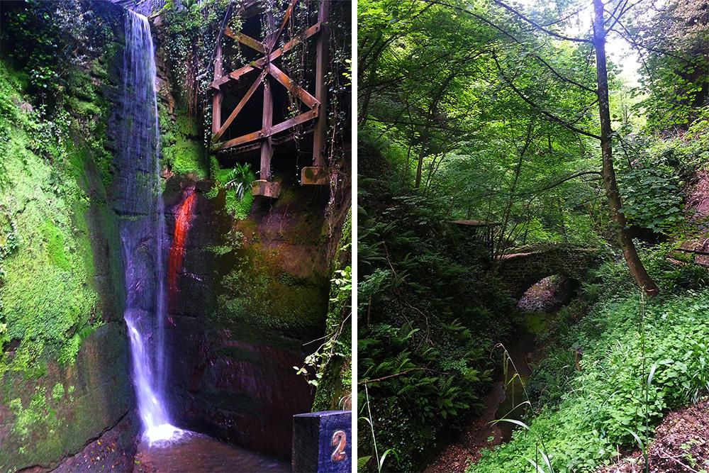 Die Shanklin Chine, sehenswert aufgrund des Wasserfalls und der üppigen Vegetation